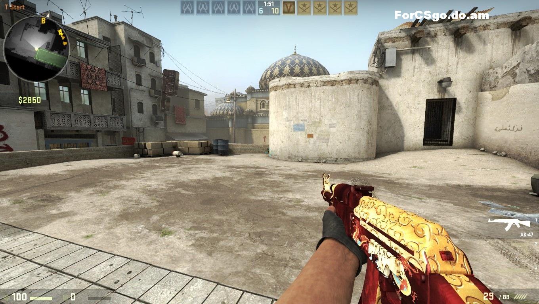 Модель Оружия AK47 Red-Gold Dragon